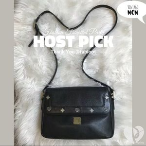 HP MCM Vintage Black Logo Luxe Leather Crossbody